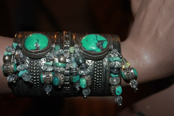 showdiva designs Huge Silver Cuff with Turquoise Beads n Crystals