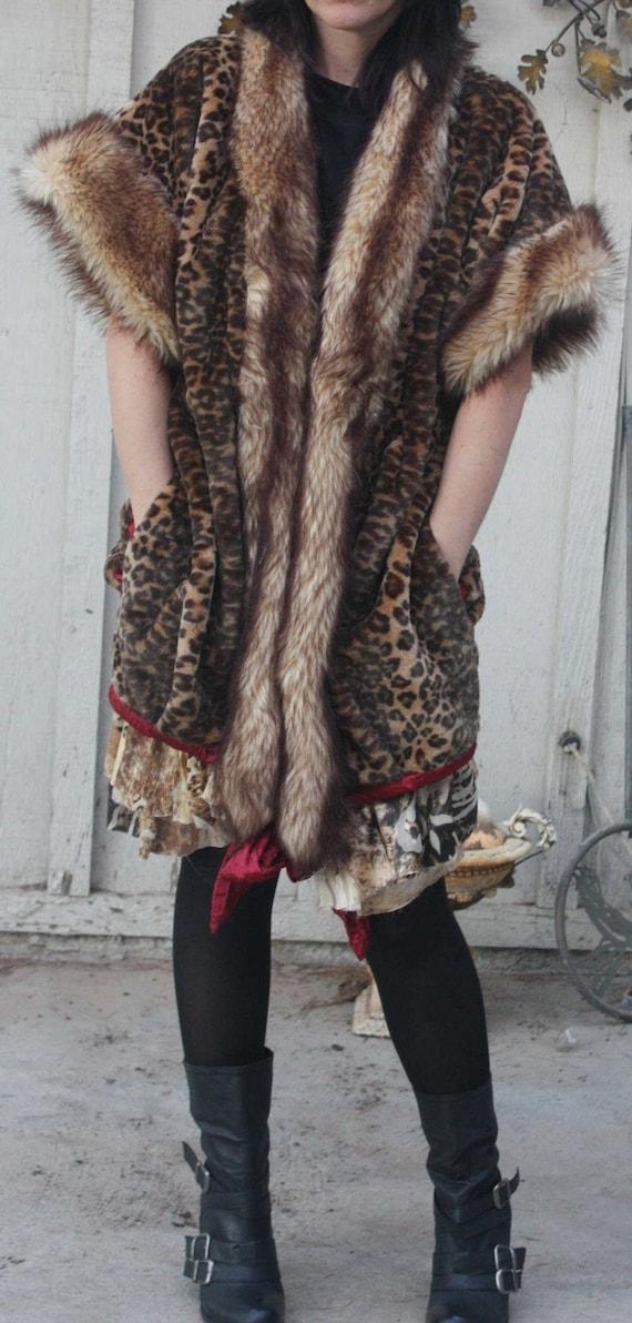 showdiva designs Special Order Leopard Faux Fur Knee Length Coat Vest with Silk Asymmetrical Ruffles