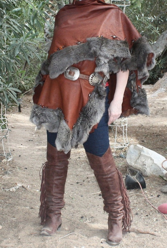 showdiva designs Leather Cape trimmed with Rabbit and Glass Beads