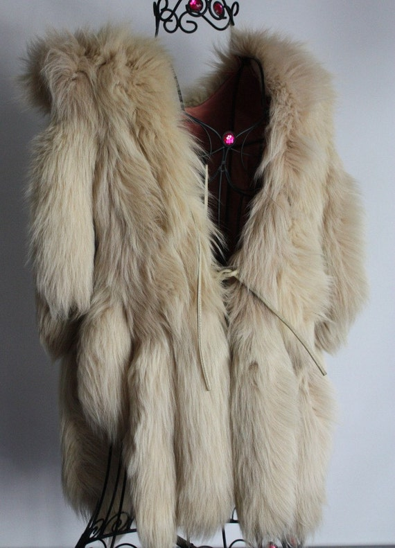 Most Incredible Vintage 16 Large Fox Tail Vest Jacket Full n Dramatic