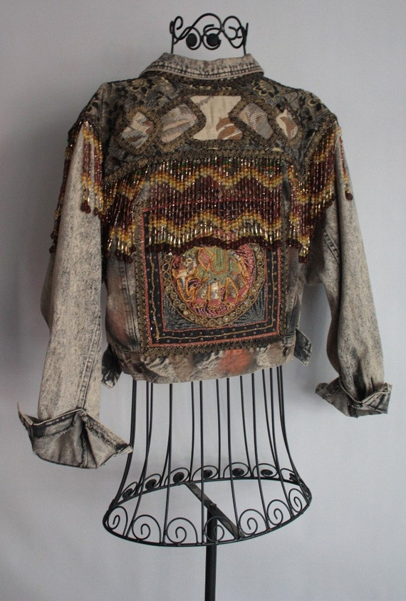 RESERVED thru TUESDAY Vintage Jean Jacket Dripping in Fringed Beads and Elephant Sequin Back