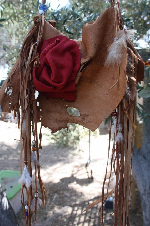 showdiva designs Ready to Ship Leather Purse ObLoNg Distressed Medicine Bag Necklace Belt LoNg FriNgE Feathers and Hand Sculpted Flower