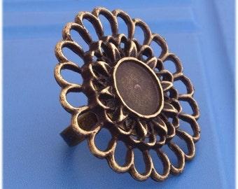 4pcs 38mm round blank tray bezel BRASS base Adjustable antique bronze ring-Hr18