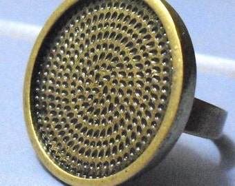 10pcs Deep bezel Trays Circle Adjustable antique bronze Pad blank RING Base