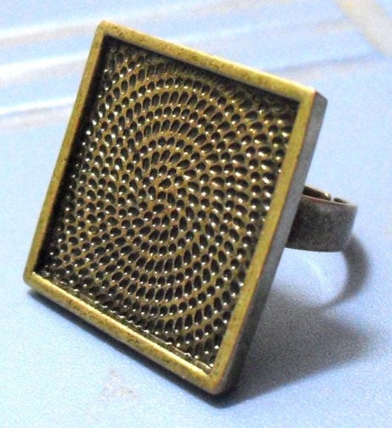 10pcs Deep bezel Trays square Adjustable antique bronze Pad blank RING Base