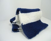 Knitted Blue and White Football Scarf