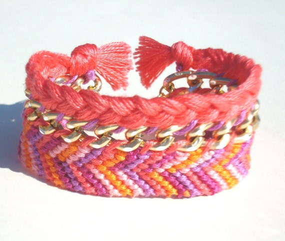 FREE SHIPPING Pink Braided Gold Chain Friendship Bracelet