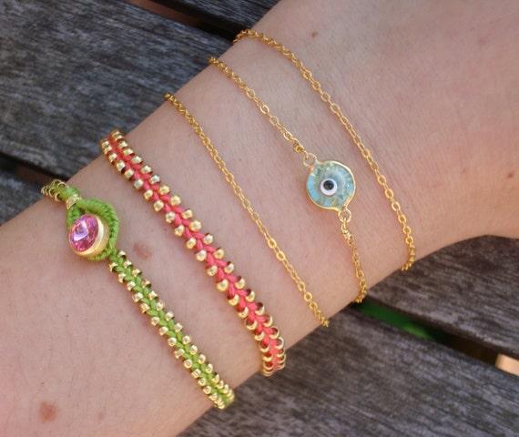 FREE SHIPPING Evil Eye Beaded Friendship Bracelet Set