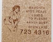 "Calling card Hand printed art tile 4"" square"
