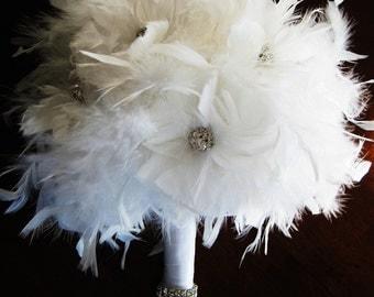 White feather bridal/bridesmaid bouquet