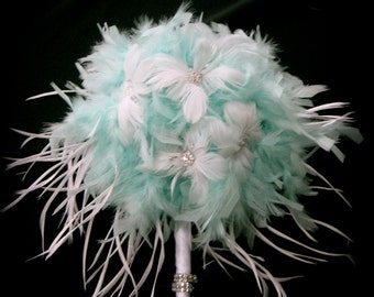 Aqua/tiffany blue feather bridal bouquet