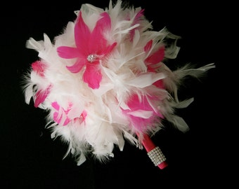 Pink flower feather bridal/bridesmaids bouquet