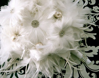 White Feather Bridal Bouquet