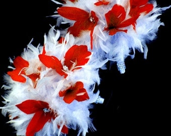Red And White Feather bride/bridesmaids bouquets