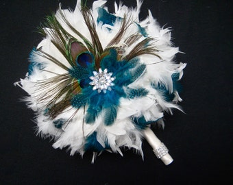 14  piece Peacock Feather Bridal Bouquet Package