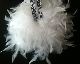 Damask Ribbon Crystal banded feather pomanders/kissing ball