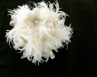 Ivory & Champagne ostrich feather bridal bouquet