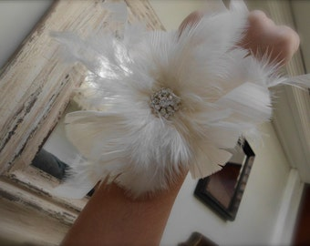 Ivory feather wrist corsage