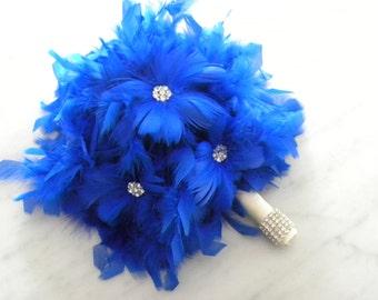 Royal Blue feather bridal bouquet