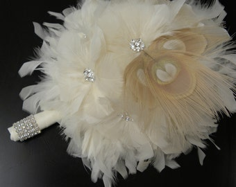 Ivory peacock  feather bridal bouquet