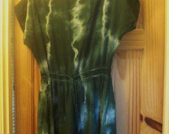 Sale Vintage 70s Green Tie Dye Crochet Mini Dress Tunic hippie Boho