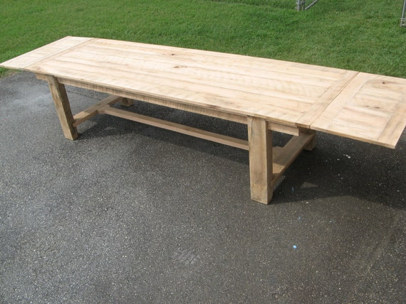 Dining Table Reclaimed Oak with Leaves (Handmade)