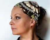 Yoga Headband Cotton Bandana - Amy Butler Lacework in Olive fabric