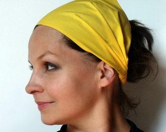 Yoga Headband - Solid Corn Yellow Kona Cotton fabric by Robert Kaufman.