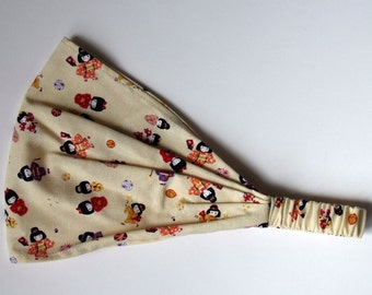 Japanese Cream Cotton Headband Little Girls With Kimono Japanese Traditional Style Print