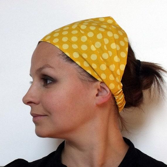 Mustard Yellow Ta Dot Headband- Michael Miller fabric