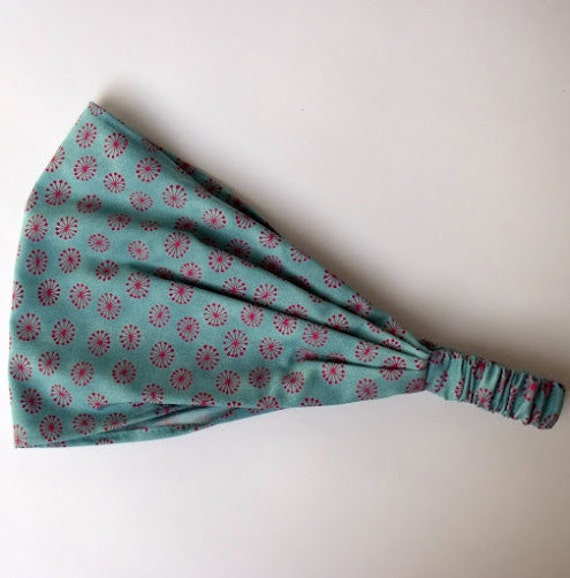 Turquoise Green Dandelion Floral Cotton Headband Stof Fabric Yoga Bandana