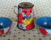 Vintage Tin Litho Tea Party Childrens Set Ohio Art