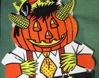 Vintage Halloween Pumpkin Man Candy container