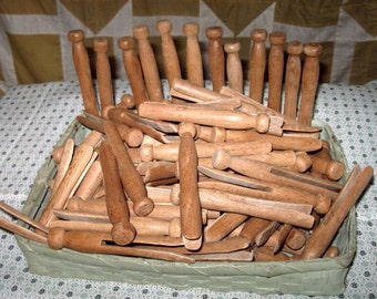 20 Antique Primitive Clothespins Wooden Vintage Clothes Pins Crafting