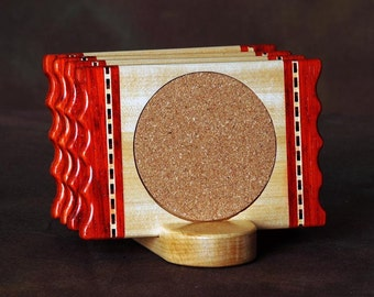 Padauk Ridge Wood Coaster w\/Cork