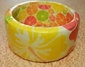 Bright Yellow, Orange and Pink Hawaiian Flower Bangle Bracelet - Summer - Tropical