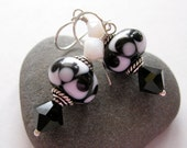Black and White Illusion Lampwork Bead Earrings