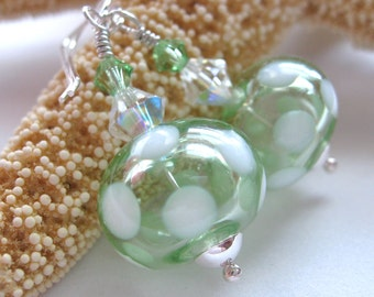 Soft Green with White Polka Dots Hollow Glass Bead Earrings