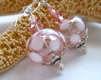Delicate Pink with White Polka Dots Hollow Glass Bead Earrings.