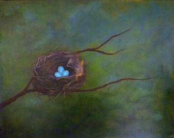 SANCTUARY Robin eggs painting 16 x 20 nest painting