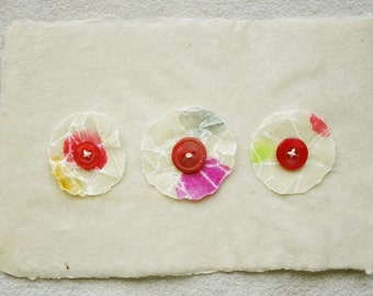 Colorful Flower Blossoms on Handmade Paper