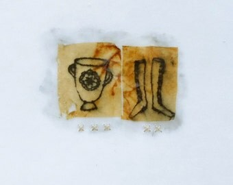 Mixed Media Drawing with Teabags on Japanese Paper / Mementos no.3
