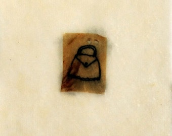 Mixed Media Drawing in Beeswax / Tiny Purse Drawing on Teabag / Mementos no.2