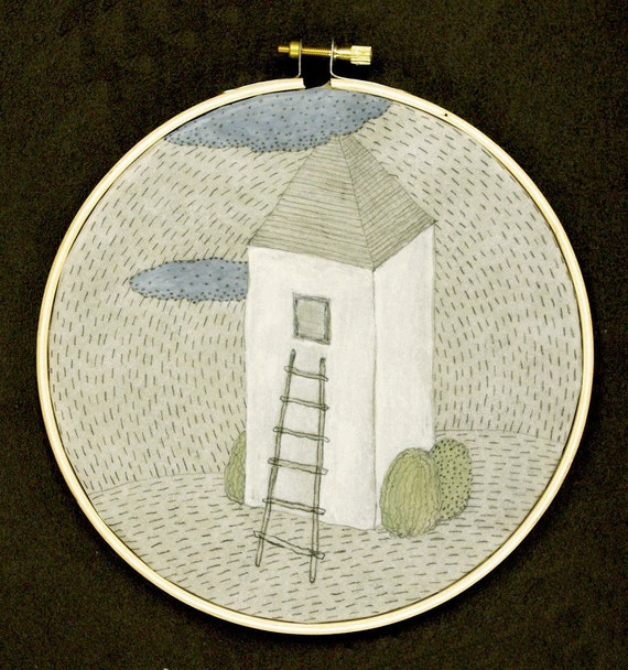 Tall House / Drawing on Vellum Stretched on Embroidery Hoop