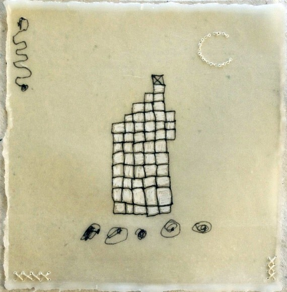 Tower  Made of Tiny Squares / Mixed Media Drawing