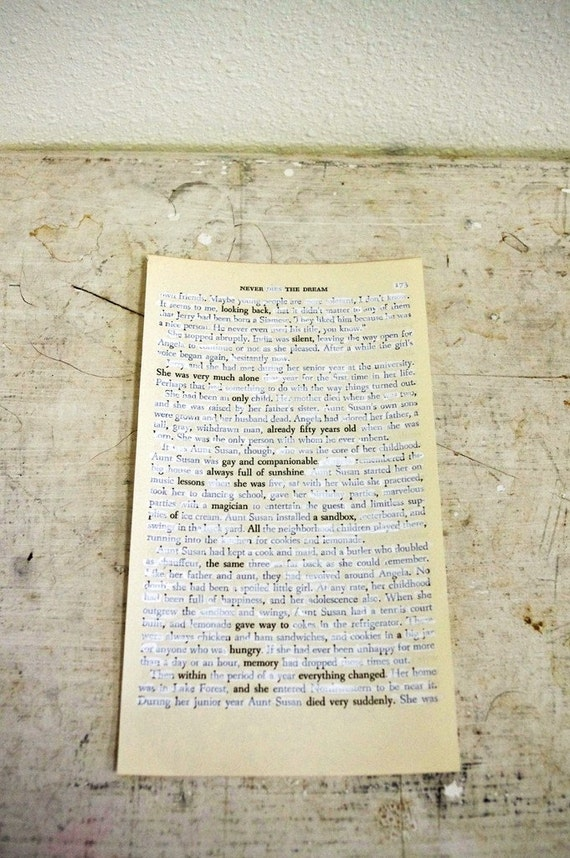 Altered Text Poem on Book Page / Never The Dream