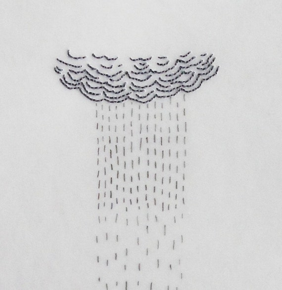 Mixed Media Drawing with Embroidery on Japanese Paper / April Showers
