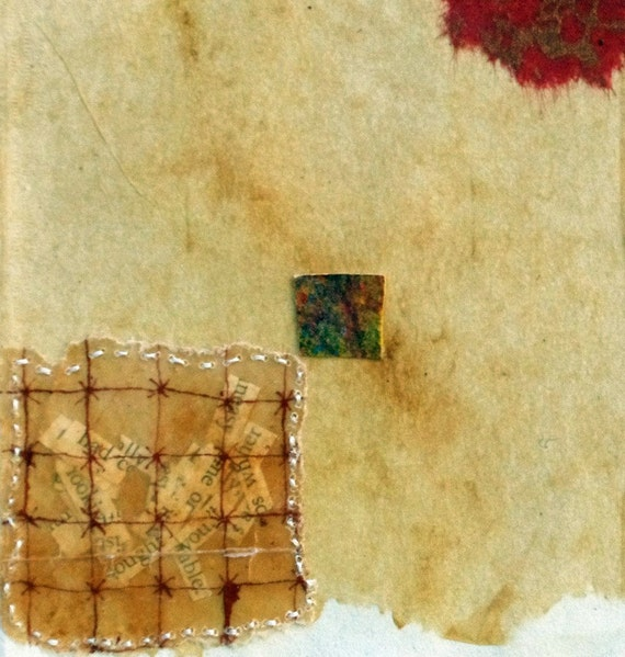 Collage on Teabag with Red Embroidery / Page From The Book Of Forbidden Words / Mixed Media on Japanese Paper