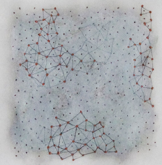 Connect the Dots no. 1 / Mixed Media Drawing on Japanese Paper