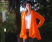 Womens Orange Mohair Cardigan/Sweater